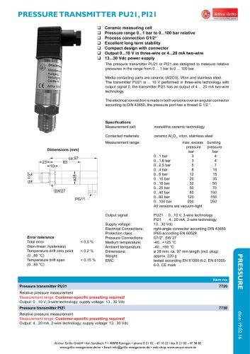 PU21 / PI21 - pressure transmitter
