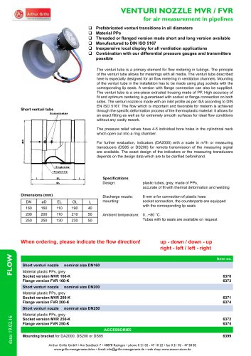 Venturirohr - venturi nozzle for air measurement in pipelines