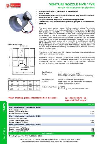 Venturirohr - venturi nozzle for air measurement in pipelines
