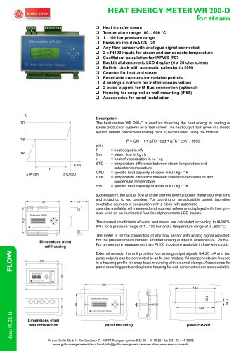 WR200-D - heat energy meter for steam
