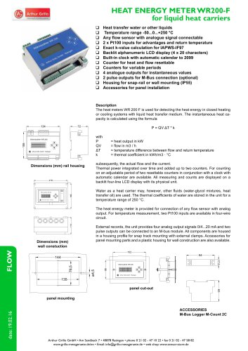WR200-F - heat energy meter for liquid heat carriers