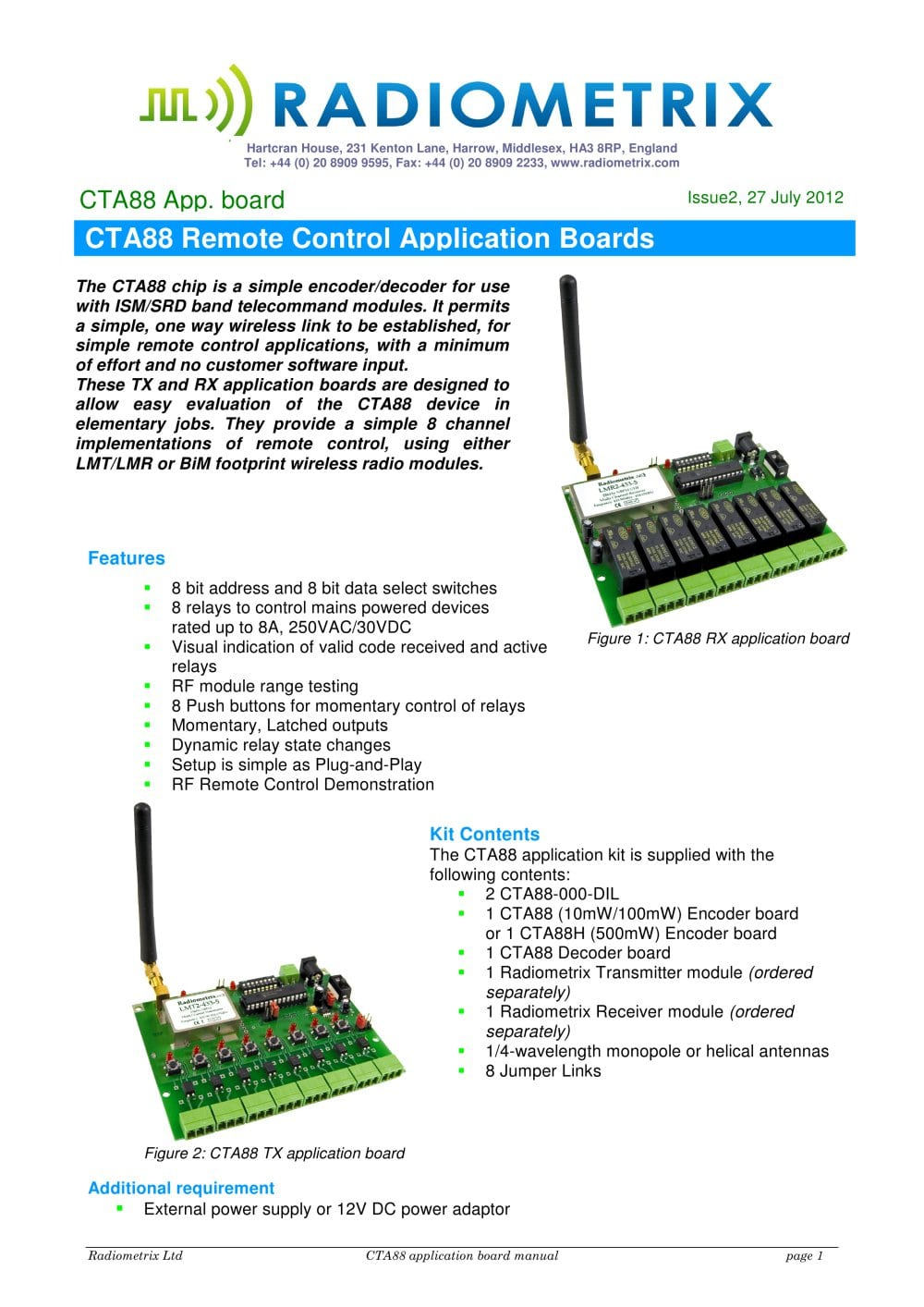 Cta88 Remote Control Application Boards Radiometrix Pdf The 8way Relay Board 1 16 Pages