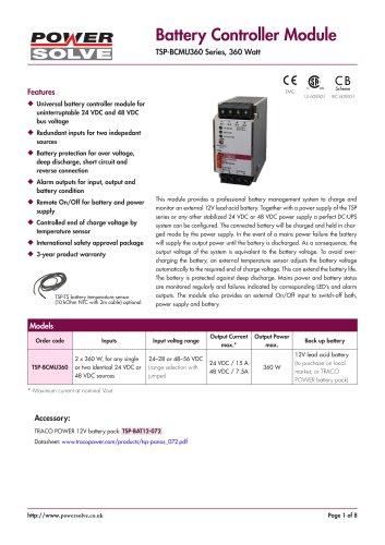 TRACOPOWER TSP-BCMU battery