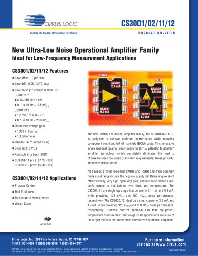 CS3001/02/11/12 Ultra-Low-Noise Operational Amplifier Family