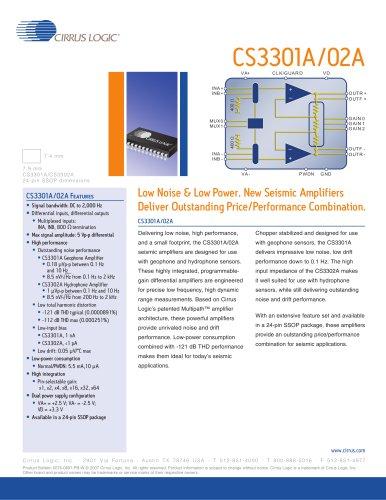 CS3301A Geophone Low Noise, Programmable Gain Differential Amplifier