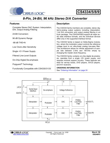 CS4334/35/38/39 8-Pin, 24-Bit, 96 kHz Stereo D/A Converters