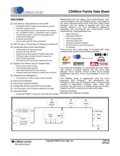CS48520/40/60 High-Performance, Low Cost 32-Bit Audio Processor