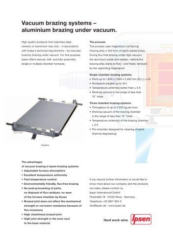 Vacuum brazing systems - Aluminium brazing under vacuum