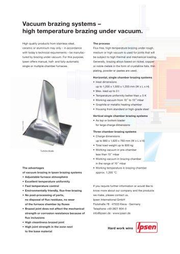Vacuum brazing systems - High temperature brazing under vacuum