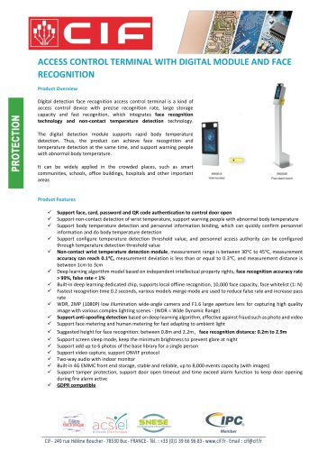 ACCESS CONTROL TERMINAL WITH DIGITAL MODULE AND FACE RECOGNITION