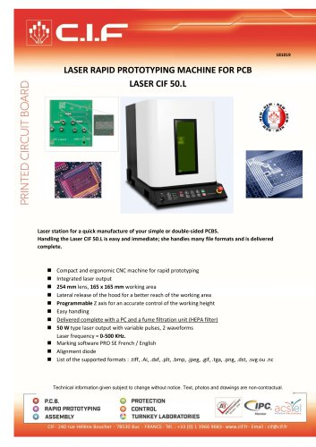 RAPID PROTOTYPING MACHINE FOR PCB LASER CIF 50.L