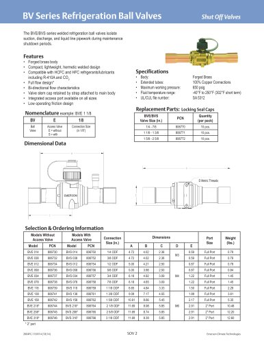 BV series Refrigeration Ball Valves