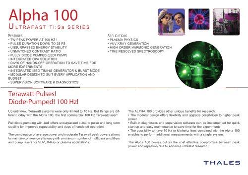 Alpha 100 Ultrafast ti:sa series