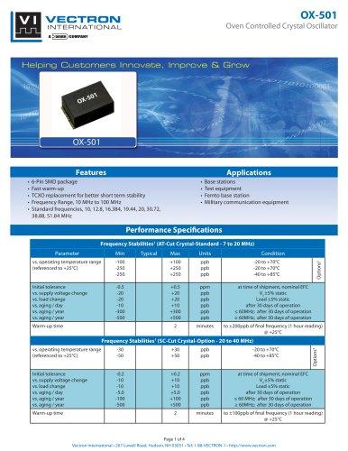 OX-501 Oven Controlled Crystal Oscillators (OCXO)
