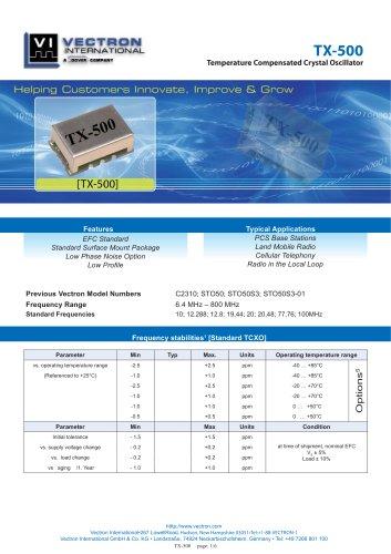TX-500 Temperature Controlled Crystal Oscillators (TCXO)