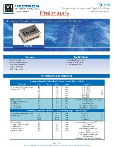 TX-508 Temperature Controlled Crystal Oscillators (TCXO)