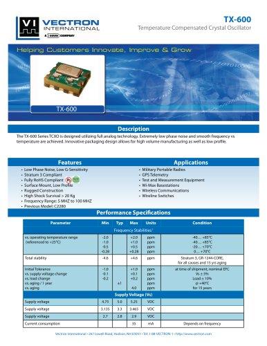 TX-600 Temperature Controlled Crystal Oscillators (TCXO)