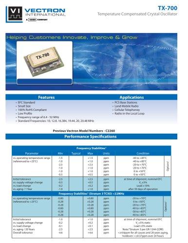 TX-700 Temperature Controlled Crystal Oscillators (TCXO)