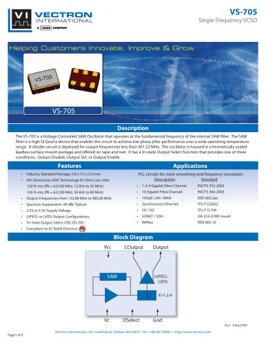 VS-705 Voltage Controlled SAW Oscillator (VCSO)