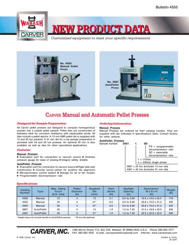 CARVER Manual and Automatic Pellet Presses