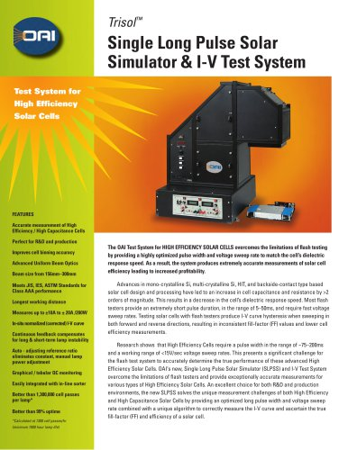 TriSOL Single Long Pulse Solar Simulator & I-V Test System