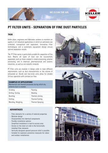 PT-FILTER UNITS - separation of fine dust particles