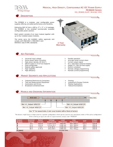 MEDICAL, HIGH DENSITY, CONFIGURABLE AC-DC POWER SUPPLY