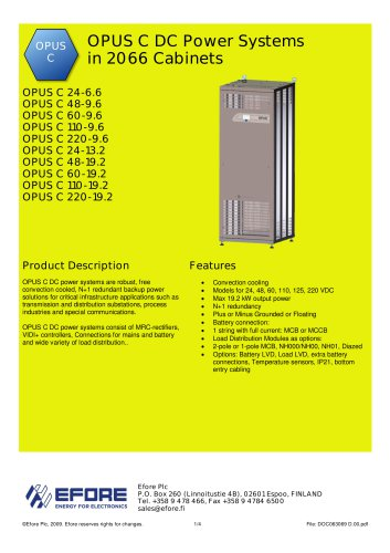 OPUS C DC Power Systems in 2066 Cabinets