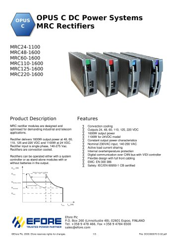 OPUS C DC Power Systems MRC Rectifiers