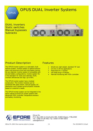OPUS DUAL Inverter Systems