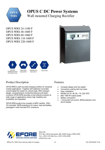 OPUS WRS Charging Rectifier System