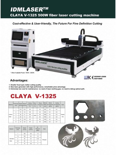 CLAYA V-1325 500W fiber laser cutting machine