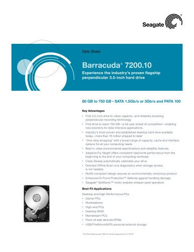 Barracuda 7200.10 Data Sheet