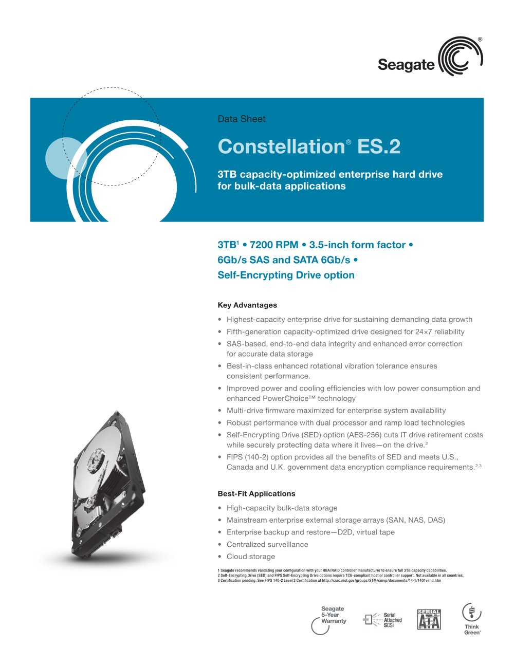 Seagate Constellation Es2 Pdf Catalogue Technical Sas Sata Controller With Encryption 1 2 Pages