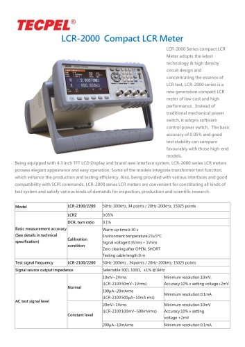 Digital Bench Top LCR Meter 100KHz, 200KHz