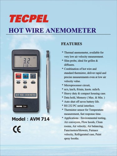 Hot Wire Anemometer, Wind speed, air flow, temperature  measurement