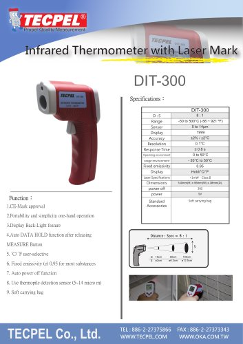Infrared Thermometer DIT-300 with Laser Mark
