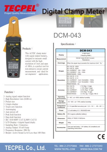 TECPEL AC/DC High Resolution 1mA (0.001A)  Clamp meter DCM-043