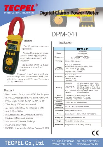 TECPEL AC Power clamp meter 1000A, 3ψ4W, 3ψ3W, 1ψ2W, 1ψ3W