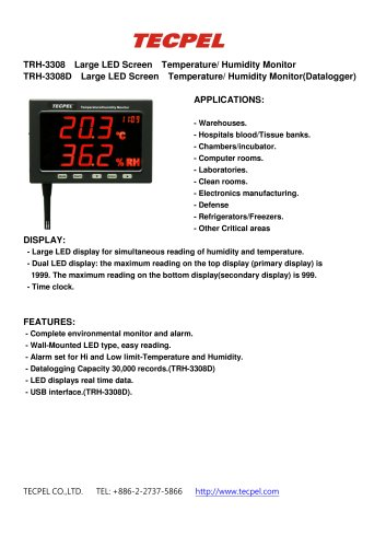 Temperature Humidity data logger LED large panel display