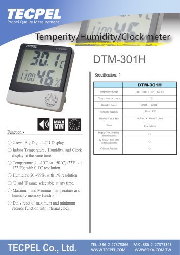 Thermo Hygrometer with Alarm clock DTM-301H