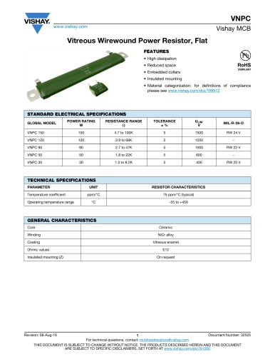 Vitreous Wirewound Power Resistor, Flat