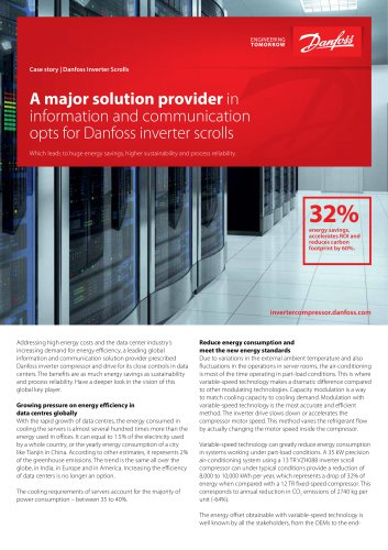 A major solution provider in information and communication opts for Danfoss inverter scrolls