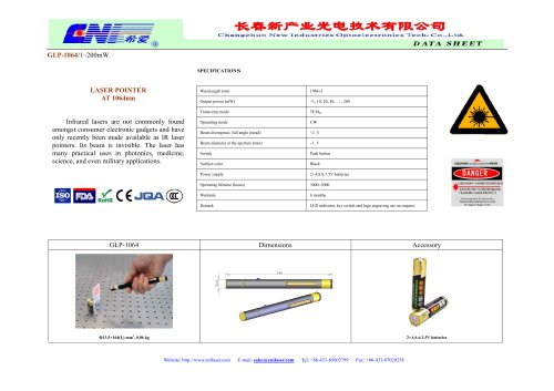 266nm-1053nm DPSS lasers from CNI
