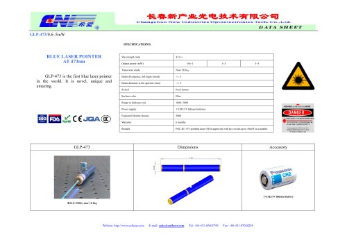 473 nm blue laser pointer from CNI