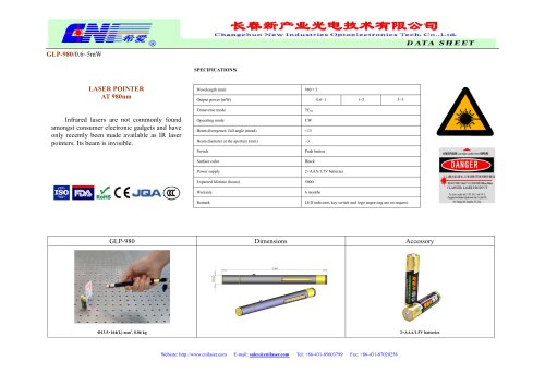 980 nm infrared laser pointer from CNI.