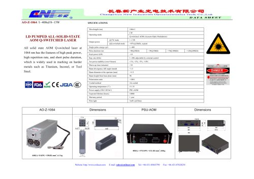 Air-cooled, AOM Q-switched laser