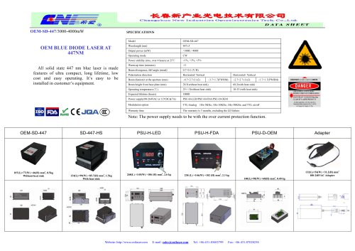 CNI/All solid state 447 nm blue laser/OEM-SD-447/3000-4000mW