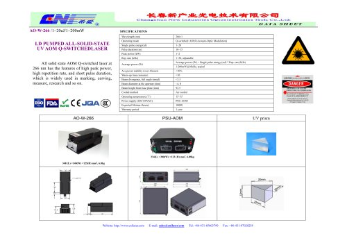 CNI/AO-W-266/All solid state AOM Q-switched laser at  266 nm/ marking, carving