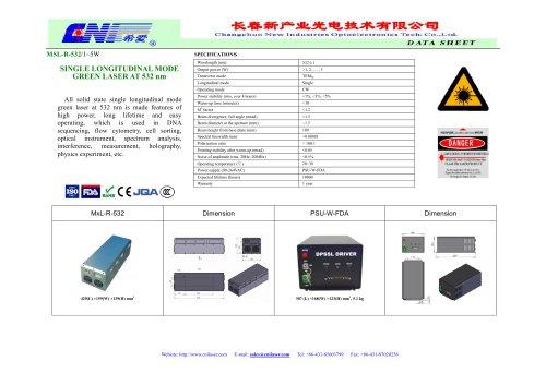 CNI/green single longitudinal mode laser/MSL-R-532/1~5W